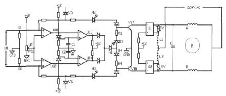 其控制电机正,反转电路及制动原理如图1.